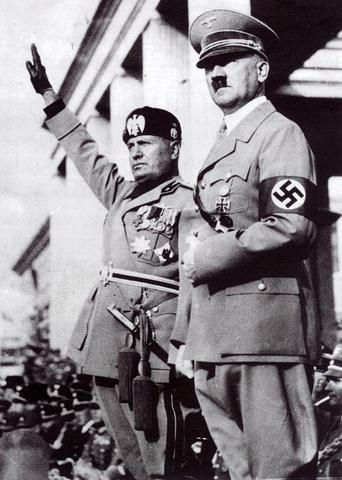 """Hitler and Mussolini form the """"Axis"""" ."""
