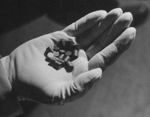 German scientists split the uranium atom.