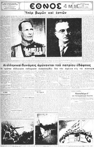 Italy declares war on Greece.
