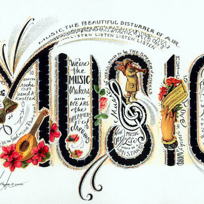 Music instruments from the Eight Eras of History. timeline