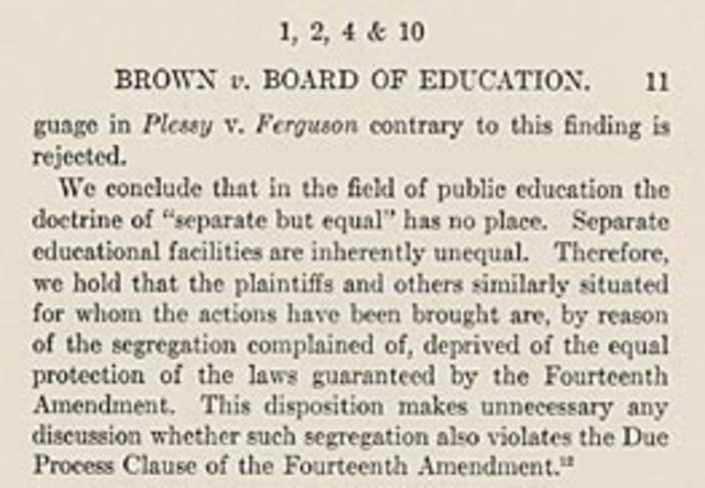 Brown vs. Board of educ.of topeka