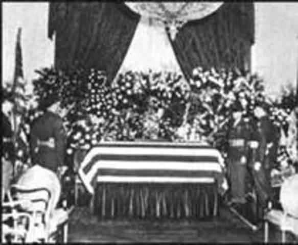 Roosevelt dies, Truman becomes president