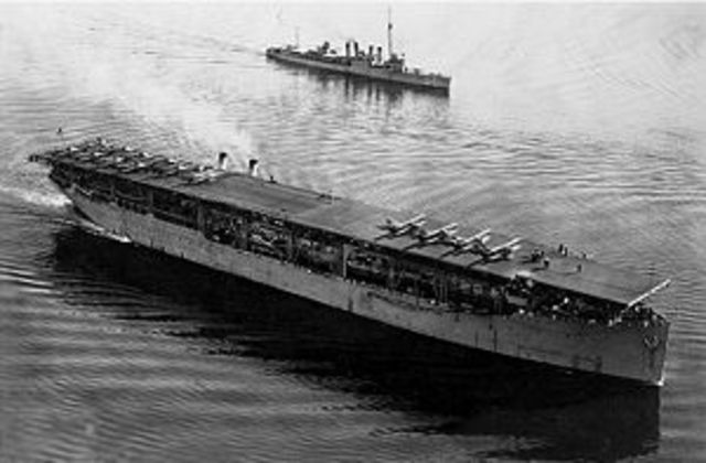 Langley (First U.S.Carrier)- Sunken by Japanese bombers.