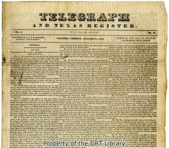 """1st """"Telegraph and Texas Register"""""""