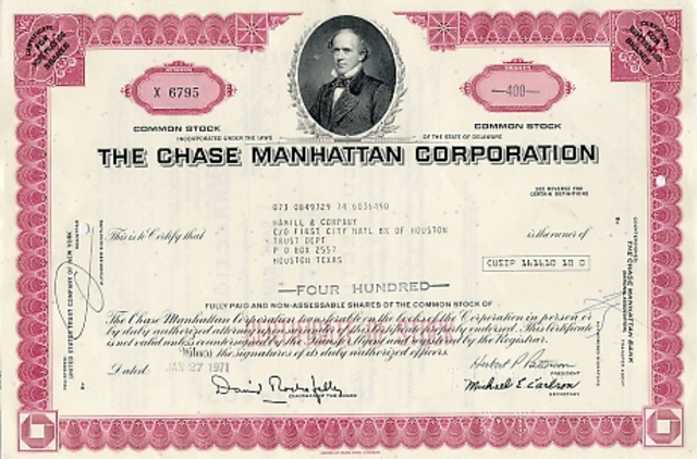Chase National Bank and Bank of the Manhattan Merge