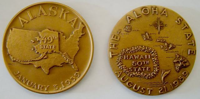 Alaska & Hawaii admitted as the 49th & 50th U.S. States