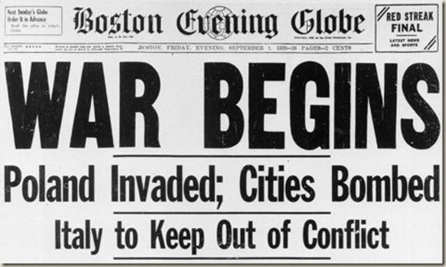 the World War II begins
