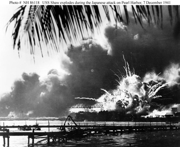 The Japanese navy attacks the USA fleet at Pearl Harbor