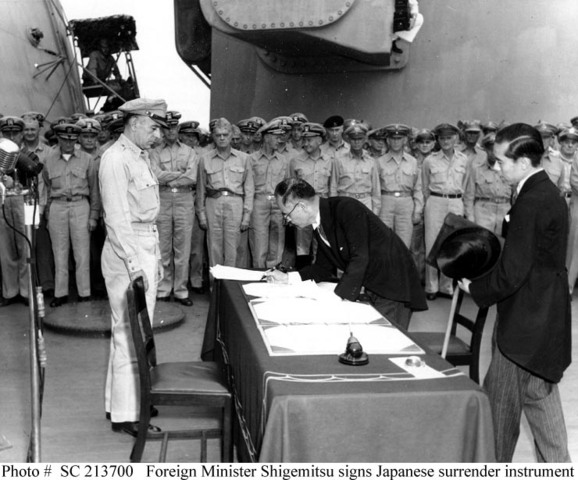 Japan surrenders to the USA.
