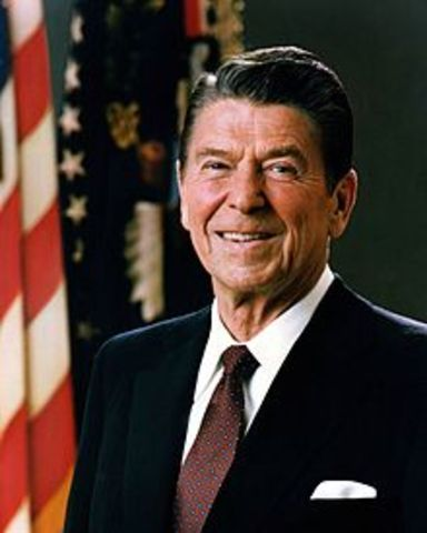 Ronald Reagan is elected. His election lead to a the development of a new set of economic ideals.