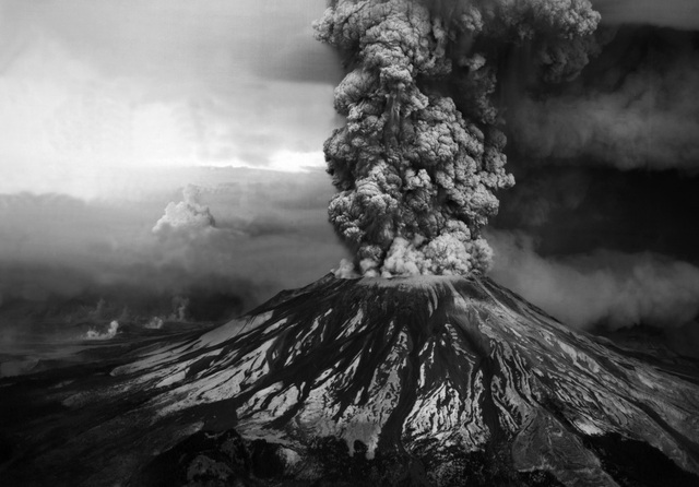 The Mt. St. Helens volcano erupts, killing fifty-seven people and economic devastation to the area with losses near $3 billion.