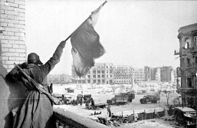 Germans surrender at Stalingrad.