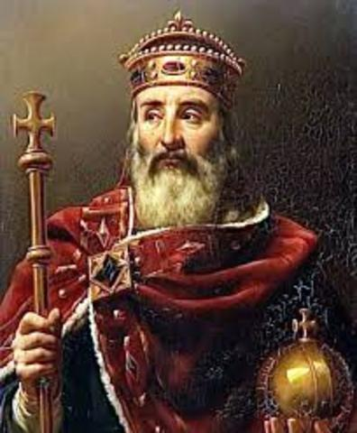 Charlemagne, king of the Franks, is crowned Holy Roman Emperor.