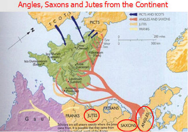 Old English - Germanic Tribes: Anglo Saxons and Jutes 450