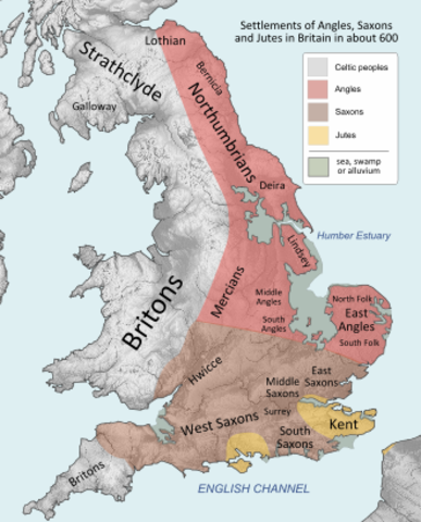 7th century Essex and Middlesex; the Angle kingdoms of Mercia, East Anglia, and Northumbria.