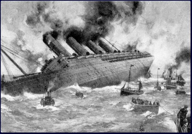 U-boat sinks the Lusitania. 1,198 civilians, including 128 Americans die.