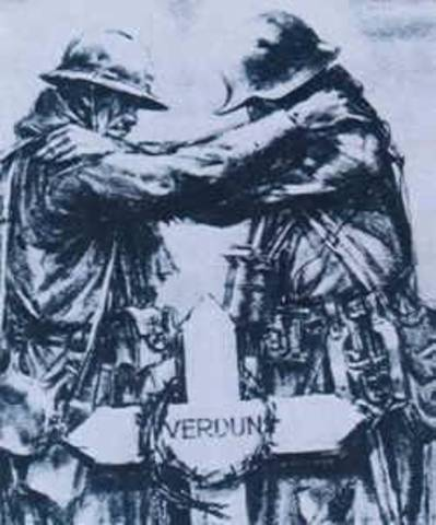 The longest battle of the war, the Battle of Verdun, is fought to a draw with an estimated one million casualties.