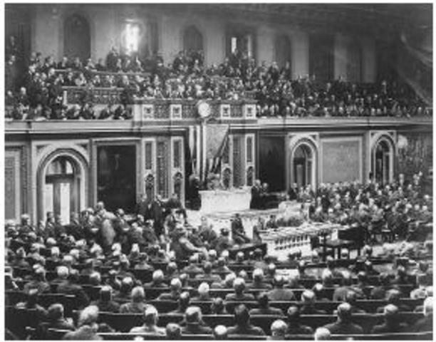 President Wilson asks Congress for a declaration of war with Imperial Germany.