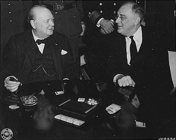Churchill and Roosevelt hold a conference at Casablanca, Morrocco