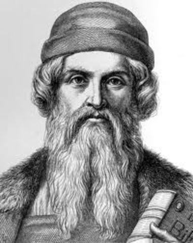 Gutenberg begins to work on a Bible.