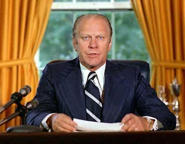President Gerald Ford pardons former President Nixon.