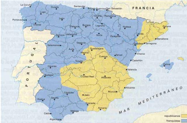 Abancen les tropes franquistes cap al Mediterrani