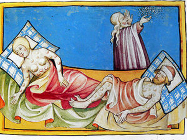 The black death hits Europe.