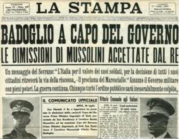 LE DIMISSIONI DI MUSSOLINI E IL GOVERNO BADOGLIO