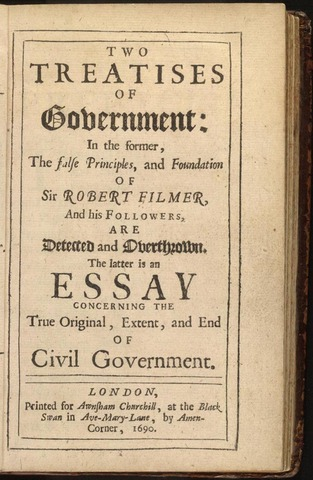 Locke publishes Two Treatises on Government.