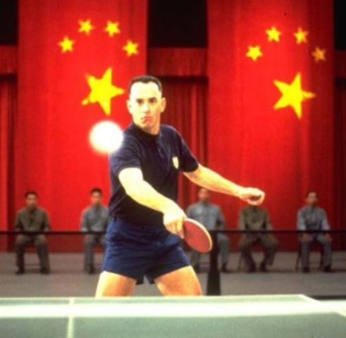 Forrest goes to China - search when did the U.S. Table Tennis Team go to China?