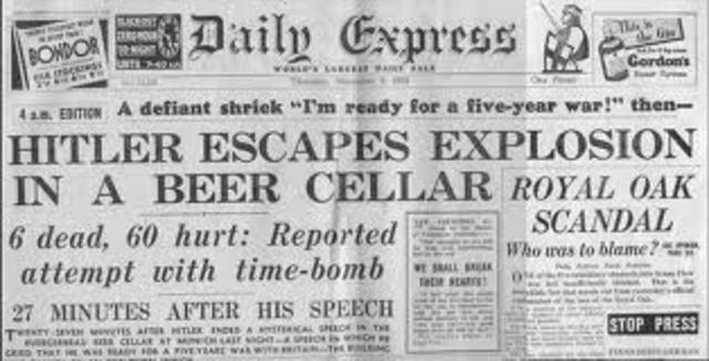 Assassination attempt on Hitler fails.