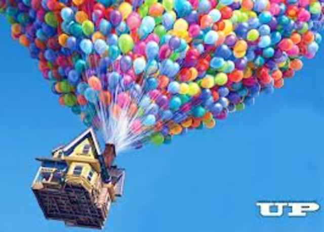 Carl uses balloons to float his house and sets off for Paradise Falls