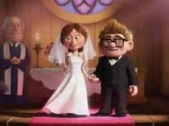 Carl and Ellie get married.