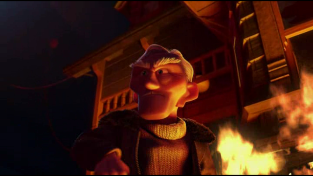 Charles sets Carl's house on fire.
