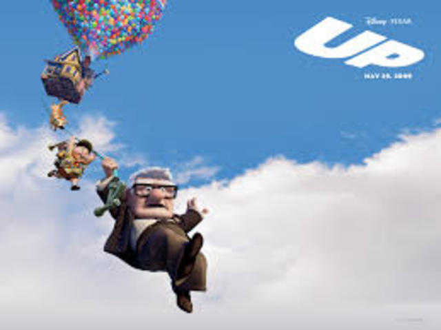 Carl uses balloons to fly his house to Paradise Falls