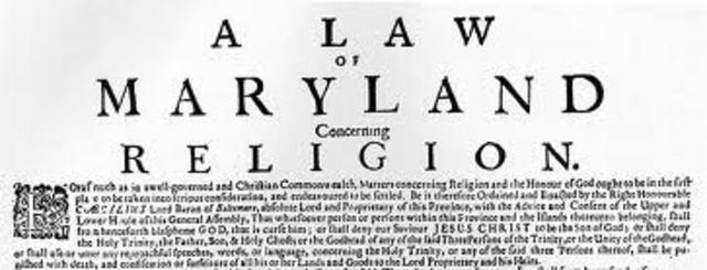 Act of Torleration in Maryland