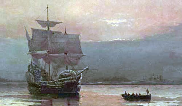 Pilgrims land in New England