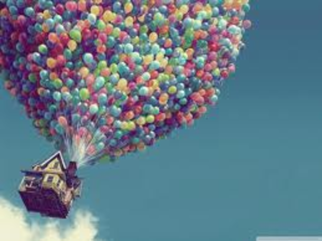 •Carl uses balloons to float his house and sets off for Paradise Falls