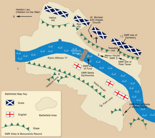 The Scots defeat the English army at the battle of Newburn