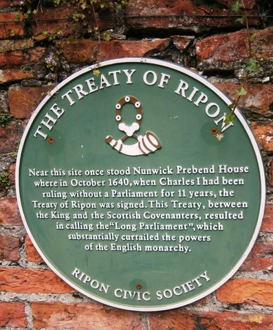 The Treaty of Ripon ends the Bishops' Wars.