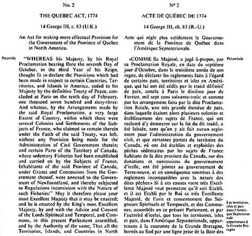 Quebec Act changes Quebec to a British Colony