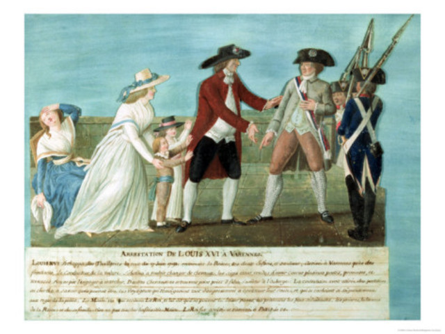 Louis XVI and his family were arrested while trying to flee from France but were arrested