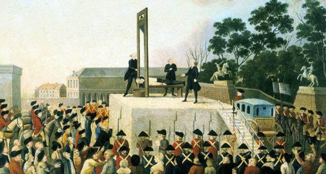 Louis XVI sentenced to the guillotine