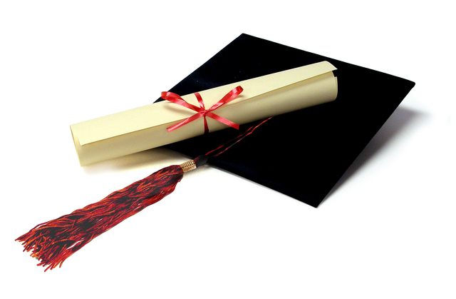 Albert gets his diploma.