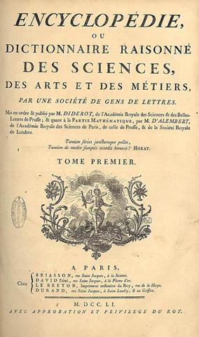 In Francia inizia la pubblicazione dell' Enciclopedia