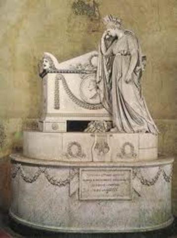 """Muore a Firenze. Alfieri è sepolto nella Basilica di Santa Croce e la sua tomba verrà ricordata dal Foscolo come una delle """"urne dei forti"""" che ispirano alti pensieri"""