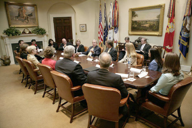 President Bush meets with officials