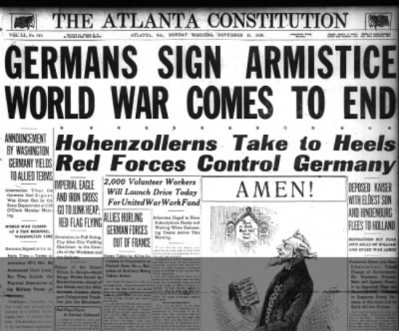 Germany sighned a Armistice, was known as the end of war.
