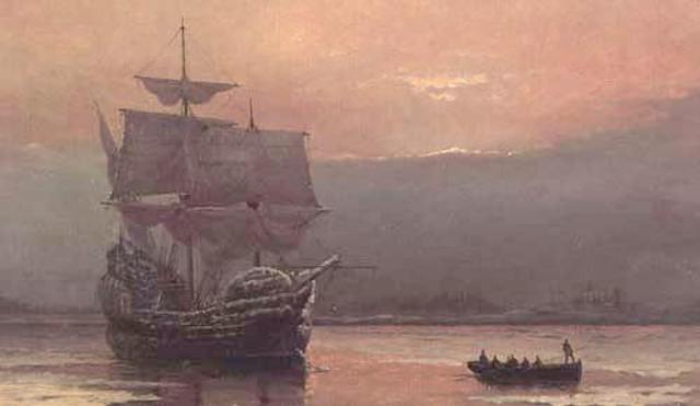 Mayflower lands at Plymouth Rock