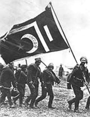 Allied powers declare war on Turkey
